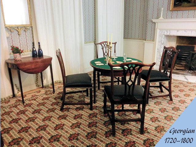 ジョージアン様式のアンティーク家具の部屋