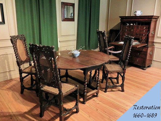 レストレーション様式のアンティーク家具の部屋