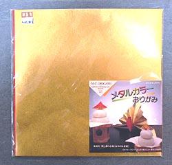 折り紙 メタルカラー 金+赤の画像