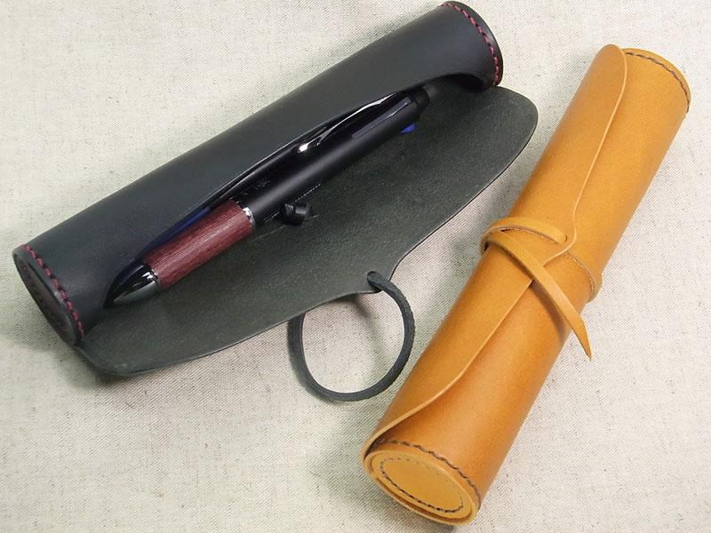 【受注生産】 手縫い 本革 円筒型ペンケースの画像