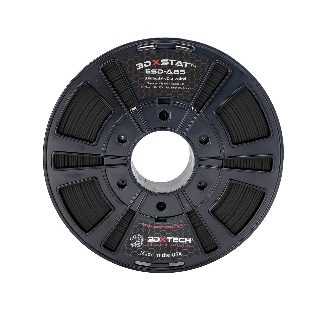 3DXTECH 3DXSTAT ESD PLA BLACK 1.75mm 1Kg画像