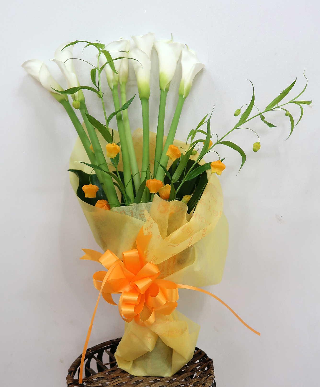 【サンシャイン】 黄色い華やか花束画像