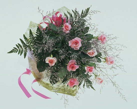 【ローズハート】 ピンクバラのブーケ画像