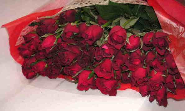 【フリーダム】 赤いバラの花束画像