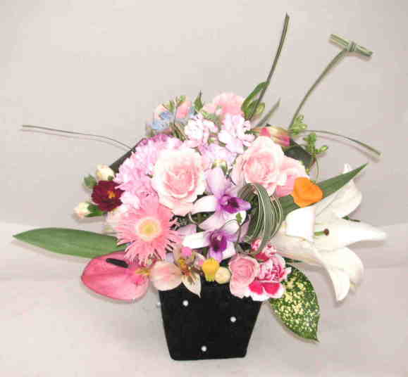 【スイートフルーティ】 バラとガーベラのアレンジメントの画像