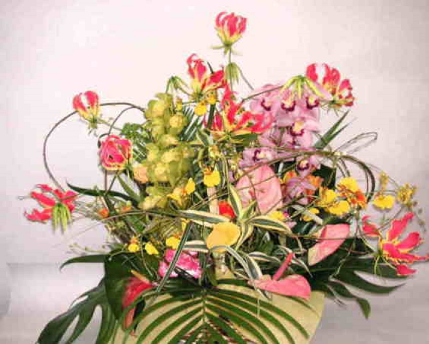 【華の舞リリース】グロリオサと蘭のアレンジメント画像