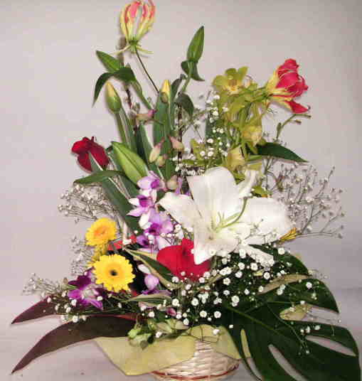 【カーディナル】バラとユリと蘭ランとグロリオサのアレンジメントの画像