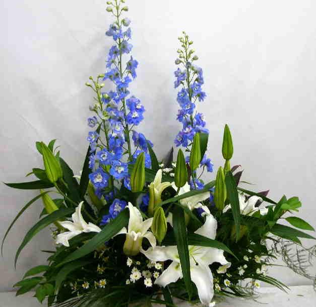 【レクイエム聖花】 ユリとデルフィニュームのアレンジメント画像