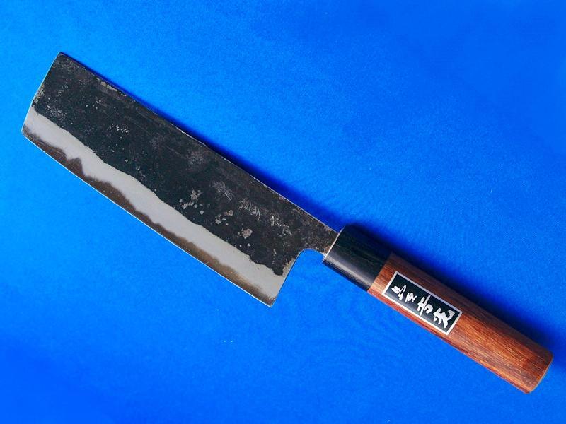 菜切包丁 165mm スーパー青鋼 紫檀柄|最高級のスーパー青鋼使用|長崎手打刃物 ネットショップ・吉光の画像