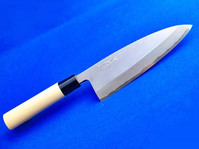 出刃包丁(片刃)青紙2号180mm ホウ柄(水牛口金柄)|人気の出刃包丁|鍛冶屋「吉光」の画像