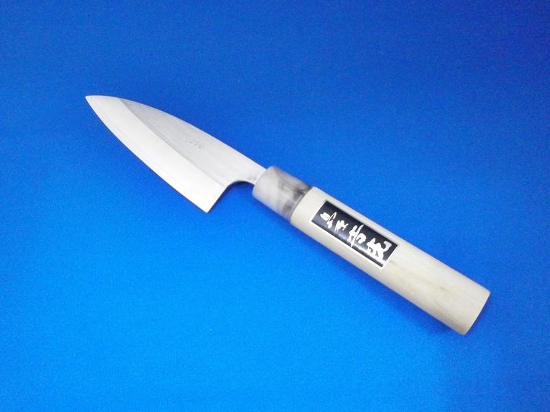 ステンレス・小出刃包丁・105ミリ・両刃・粉末ハイス鋼|錆び難く、切れ味が長持ち、お手入れ簡単|鍛冶屋・吉光の画像