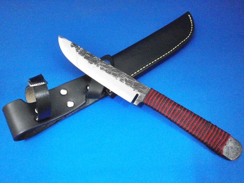 ダマスカスナイフ・14層・125ミリ 青鋼1号 組紐巻き|キャンプ、レジャー、狩猟などに人気|鍛冶屋・吉光画像