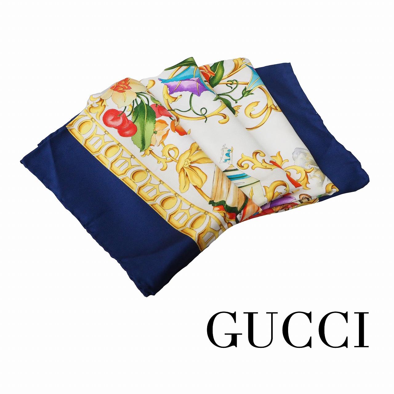 【中古】【良い】 GUCCI グッチ レゲンデ スカーフ フローラ ネイビー/ホワイト画像